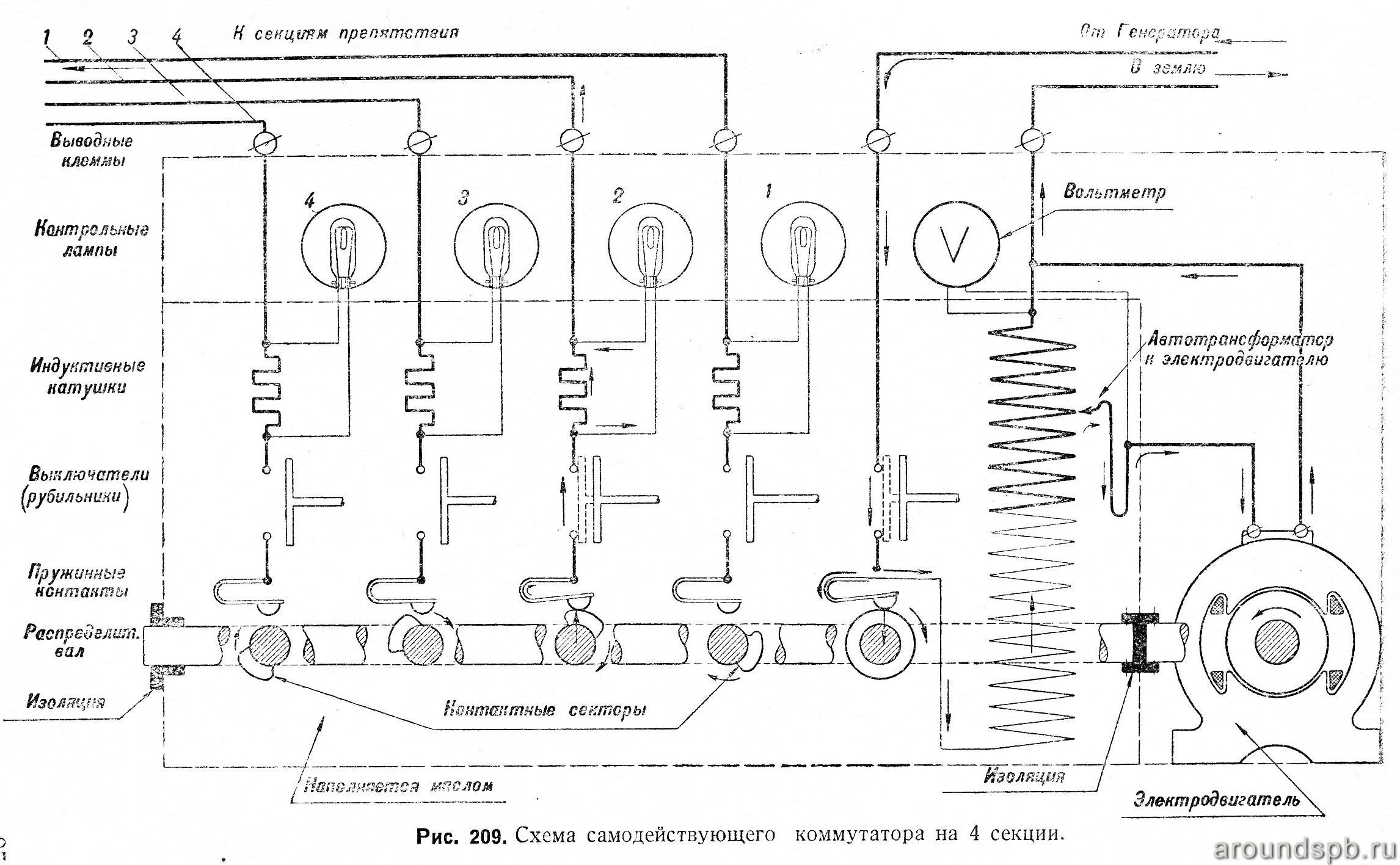 Схема самодействующего коммутатора на 4 секции
