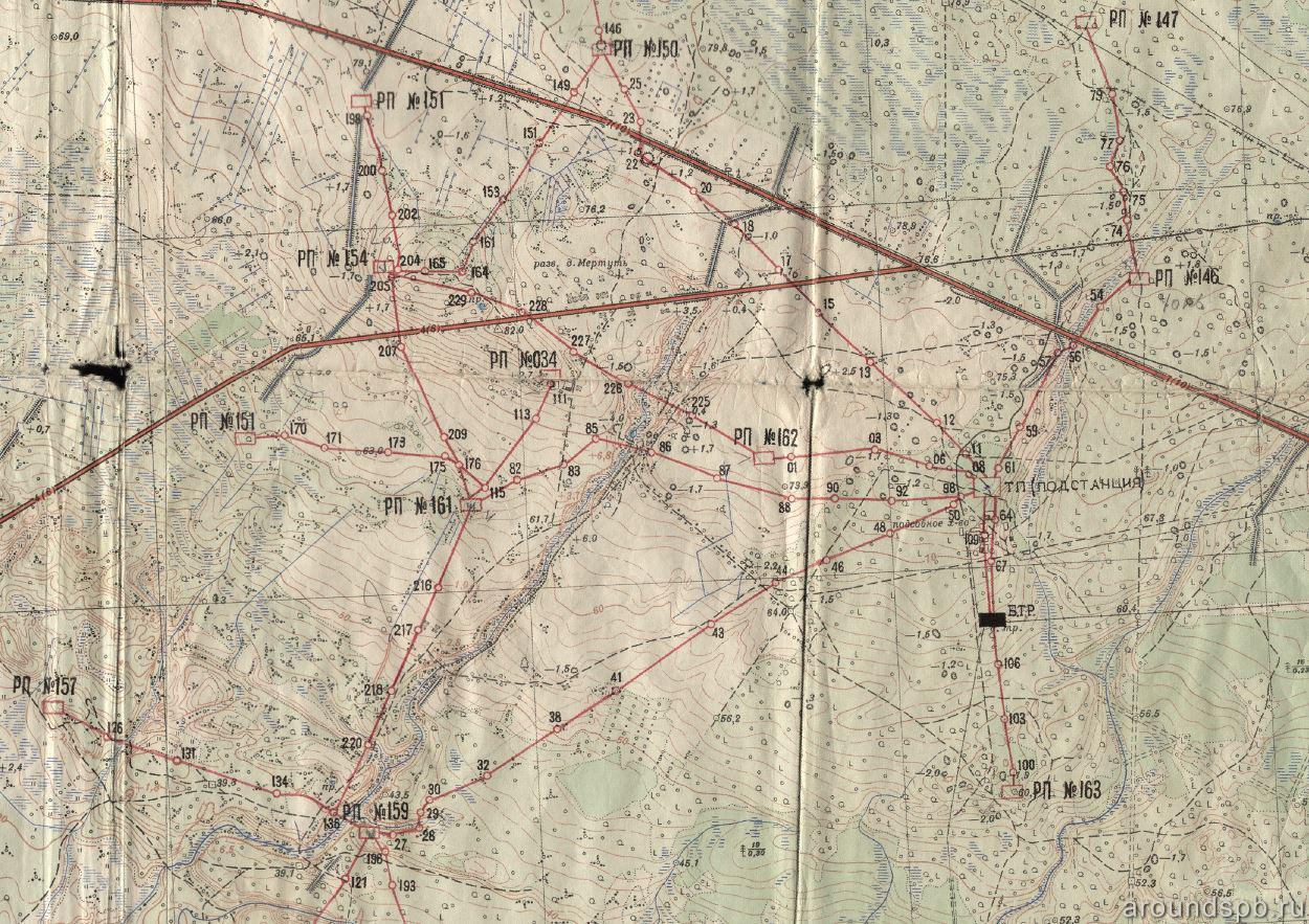 Схема кабельных линий и распределительных пунктов Мертутского батрайона
