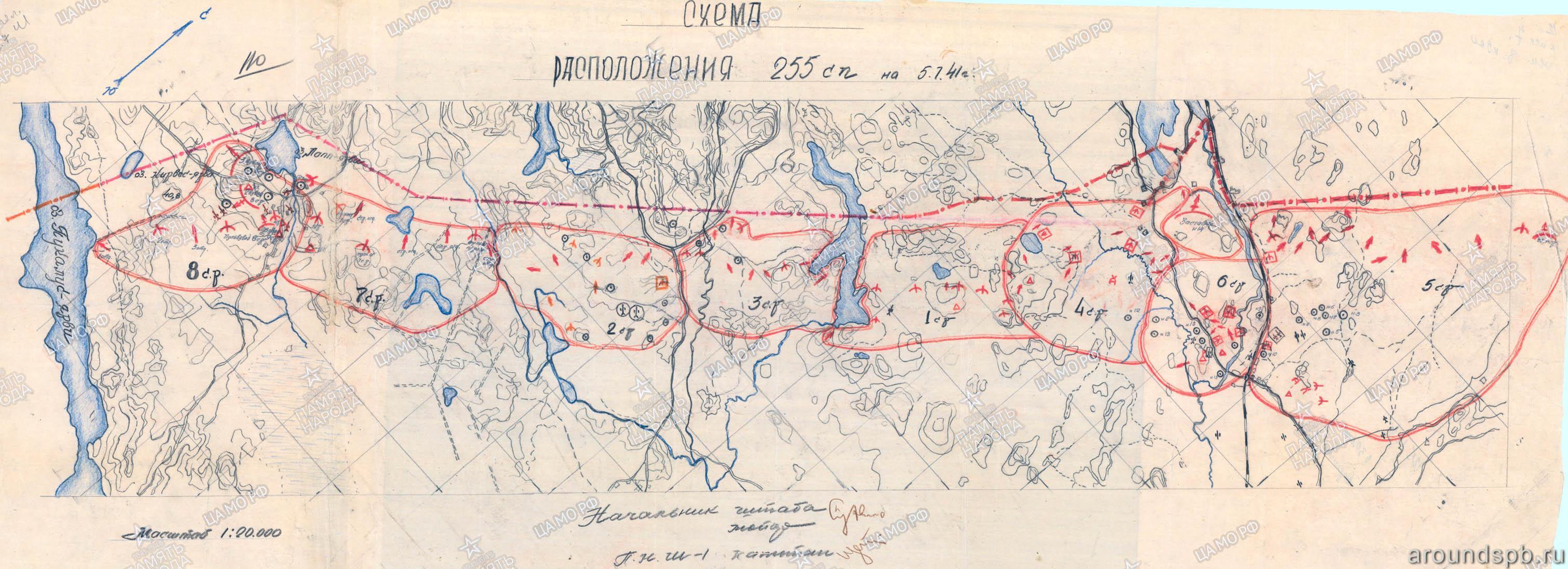 Выборгский укрепрайон. Обозначены долговременные огневые точки ОП Ванхатимпери, Хясяля, Лоуко
