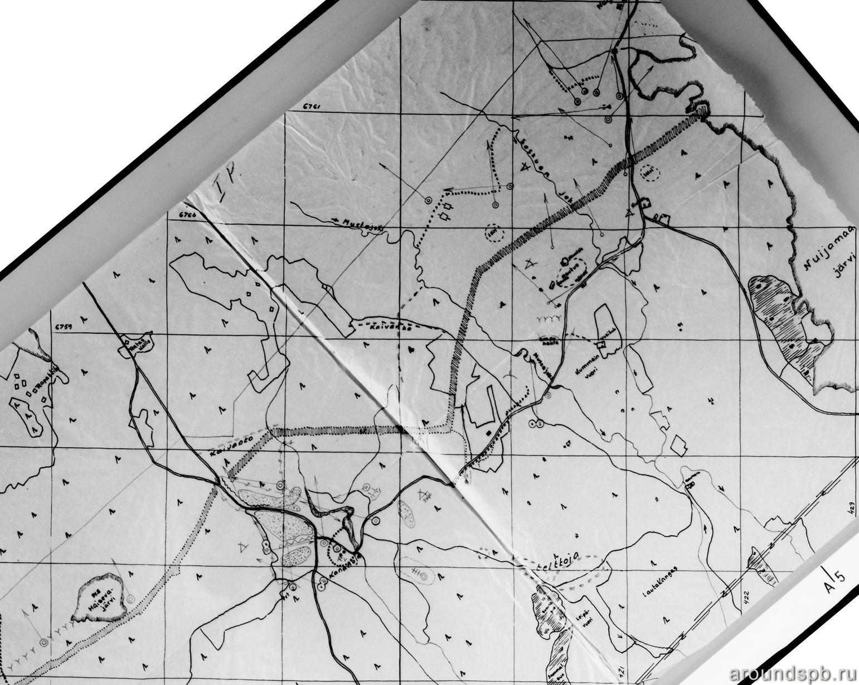 Выборгский укрепрайон. Финская разведсхема с обозначенными долговременными огневыми точками в районе мыза Кананоя - д.Мюллюсильта