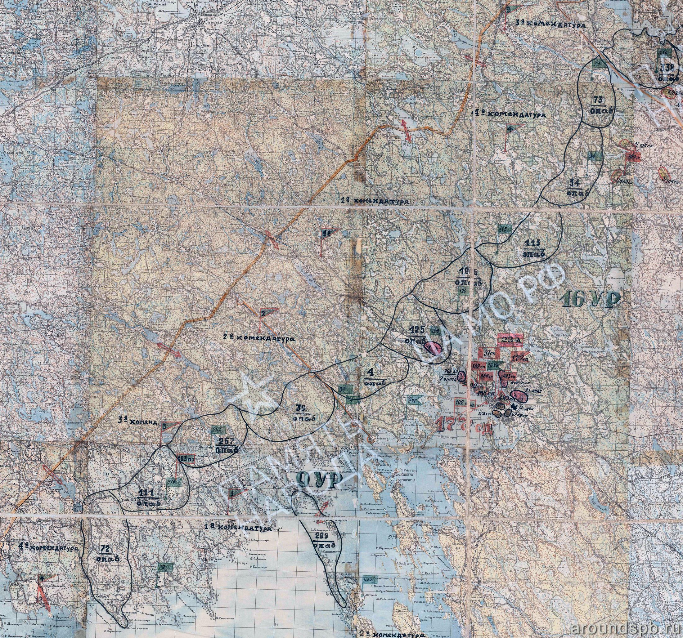 Выборгский укрепрайон. Положение войск 23-й армии на 30.05.1945