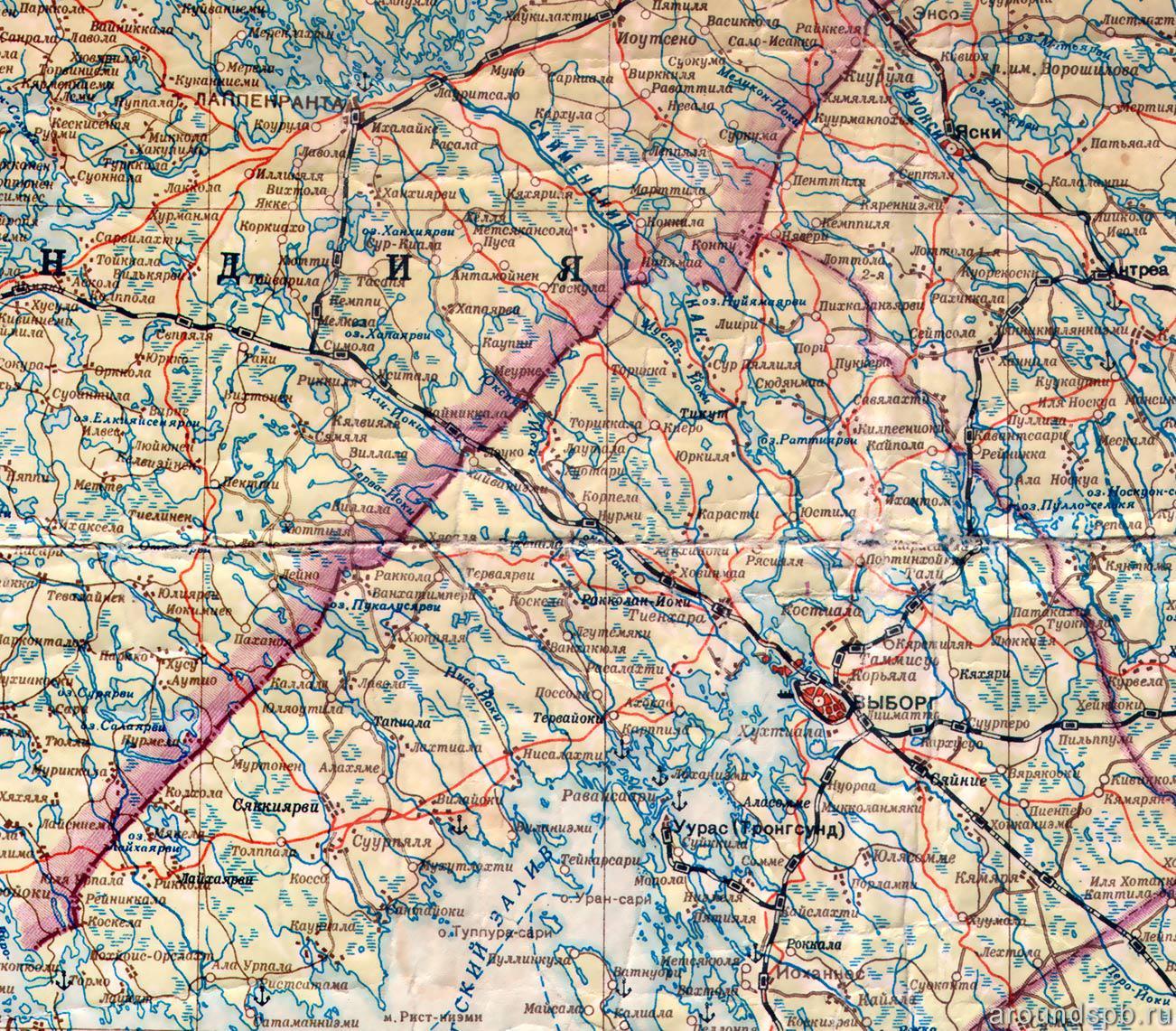Карта границы 1940 года